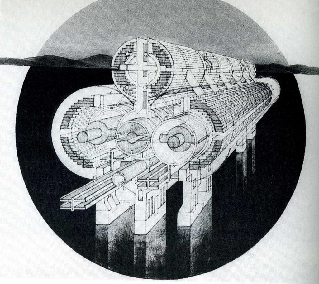 "Raimund Abraham, ""Mega Bridges"", Bruckenstadt, 1965"